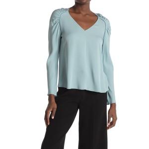 Shirred Shoulder Silk Top