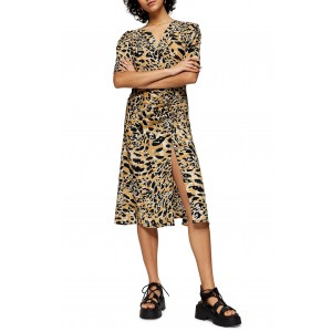 Leopard Print Mock Wrap Midi Dress