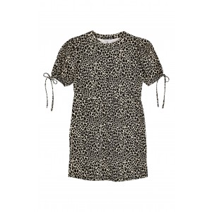 Animal Print Tie Puff Sleeve Minidress