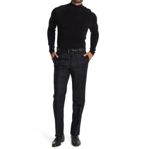 Black Plaid Wool Regent Fit Suit Separates Pants