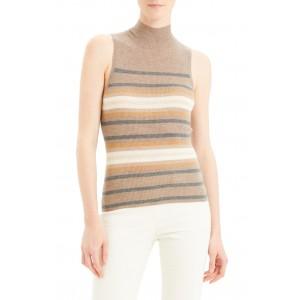 Regal Stripe Ribbed Sleeveless Cashmere Sweater