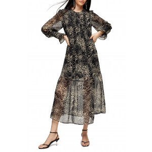 Long Sleeve Animal Print Midi Dress