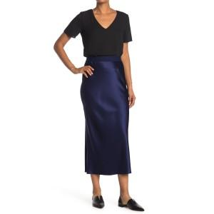 Solid Satin Slit Maxi Skirt