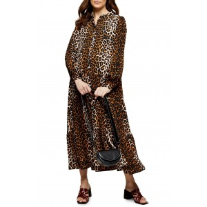 Animal Print Long Sleeve Tiered Maternity Maxi Dress