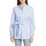 Half Placket Stripe Belted Tunic