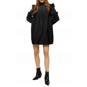 Pintuck Frill Long Sleeve Minidress
