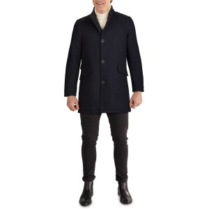 Zip Collar Button Front Twill Coat