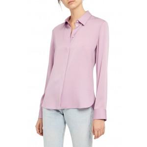 Classic Silk Blend Button Front Blouse