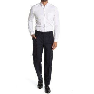 Navy Solid Pleated Madison Fit Suit Separates Pants