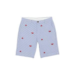 Striped Watermelon Embroidered Seersucker Shorts