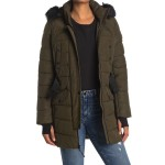 Belted Faux Fur Hood Quilted Jacket