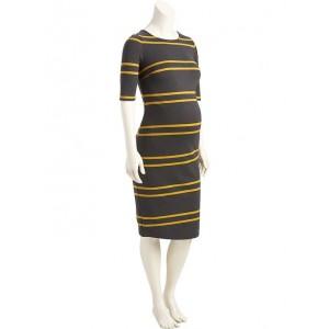 Maternity Striped Midi Dress