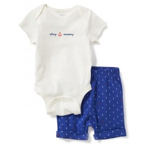 2-Piece Graphic Bodysuit and Shorts Set for Baby