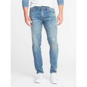 Relaxed Slim Built-In Flex Distressed Jeans for Men