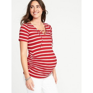 Maternity Lace-Up-Yoke Tee