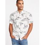 Slim-Fit Built-In Flex Printed Shirt for Men