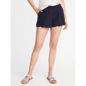 Scallop-Hem Linen-Blend Soft Shorts For Women - 4 inch inseam