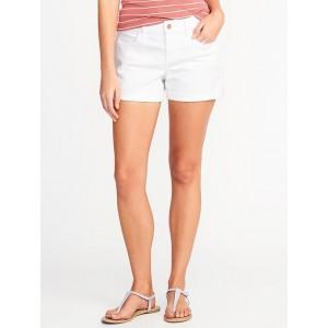 Semi-Fitted White Denim Shorts for Women (3 1/2