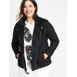 Plus-Size Sueded-Knit Moto Jacket