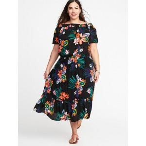 Waist-Defined Plus-Size Midi Dress