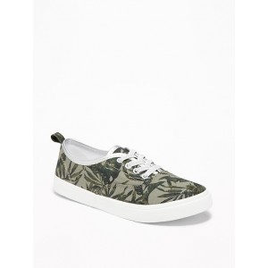 Printed Elastic-Lace Canvas Sneakers for Girls