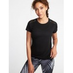 Relaxed Mesh-Back Side-Tie Tee for Women