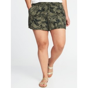Mid-Rise Plus-Size Printed Soft Shorts (5