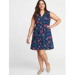 Sleeveless Georgette Plus-Size Swing Dress