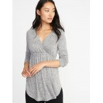 Maternity Plush-Knit Surplice Sleep Top
