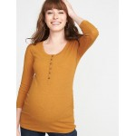 Maternity Fitted Rib-Knit Henley