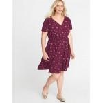 Waist-Defined Plus-Size V-Neck Dress