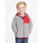 Hooded Color-Block Sherpa Jacket for Toddler Boys