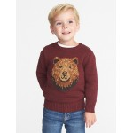 Bear-Graphic Sweater for Toddler Boys