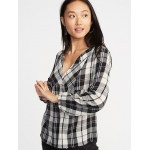 Relaxed Plaid Crepe Top for Women