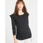 Maternity Patterned Ruffle-Shoulder Top