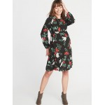Maternity Floral Waist-Defined Dress