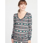 Maternity Patterned Thermal-Knit V-Neck Tee