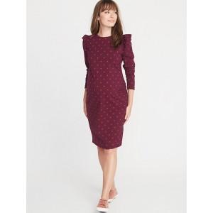 Maternity Ruffle-Shoulder Bodycon Dress