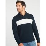 Shawl-Collar Chest-Stripe Sweater for Men