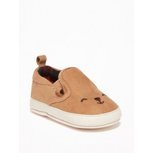 Faux-Suede Bear-Critter Slip-Ons for Baby