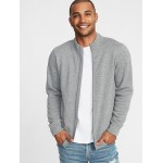 Mock-Neck Full-Zip Sweater-Knit Jacket for Men