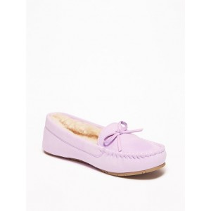 Sueded Faux-Fur Lined Moccasins for Girls