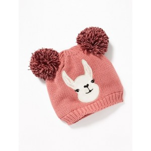 Critter-Graphic Double Pom-Pom Beanie for Girls