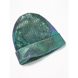Metallic-Foil Rib-Knit Beanie for Girls