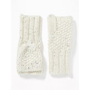 Foil-Print Flip-Top Mittens for Girls