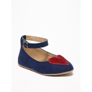 Faux-Suede Sparkle-Heart Ballet Flats for Baby