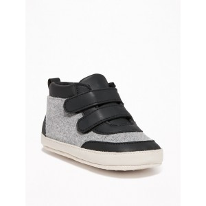 Color-Blocked Felt/Faux-Leather High-Tops for Baby