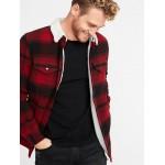 Plaid Wool-Blend Sherpa-Lined Shirt Jacket for Men