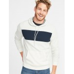 Color-Blocked Thermal-Knit Pullover Hoodie for Men