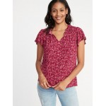 Ruffled Tie-Neck Floral-Print Blouse for Women